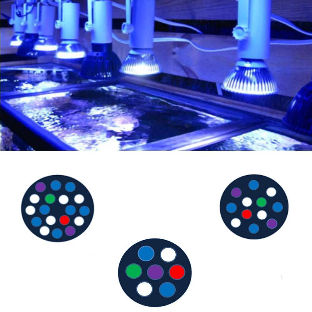 Полный спектр светодиодный светильник для аквариума ing E27 12000K светодиодный коралловый риф аквариумный светильник светодиодный Par30/38 Аква св...