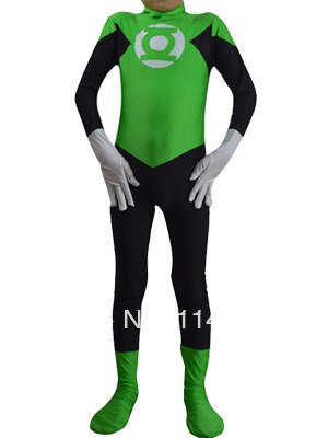 Kids Green Lantern Spandex Superhero Zentai Suit