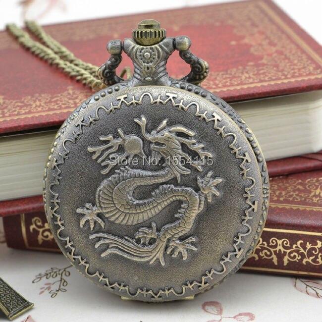 Christmas Promotion 50pcs/lot Hot Sale Unisex Dragon Pattern  Flip Quartz Pocket Watch Top Quality Pocket Watchss Birthday Gift
