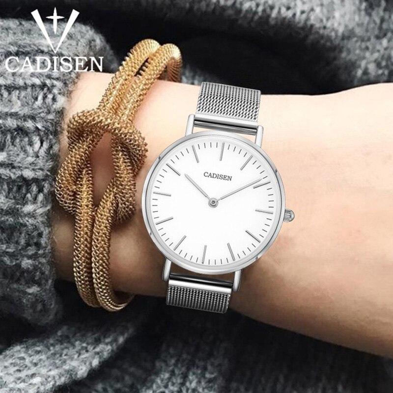 Женские повседневные кварцевые часы CADISEN, ультратонкие водонепроницаемые наручные часы из нержавеющей стали
