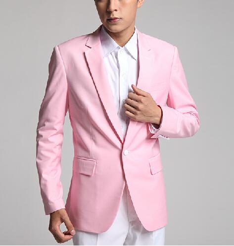 Esmoquin de novio rosa de un botón de alta calidad, solapa de muesca, trajes de hombre, Blazers (chaqueta + Pantalones + corbata) W 680
