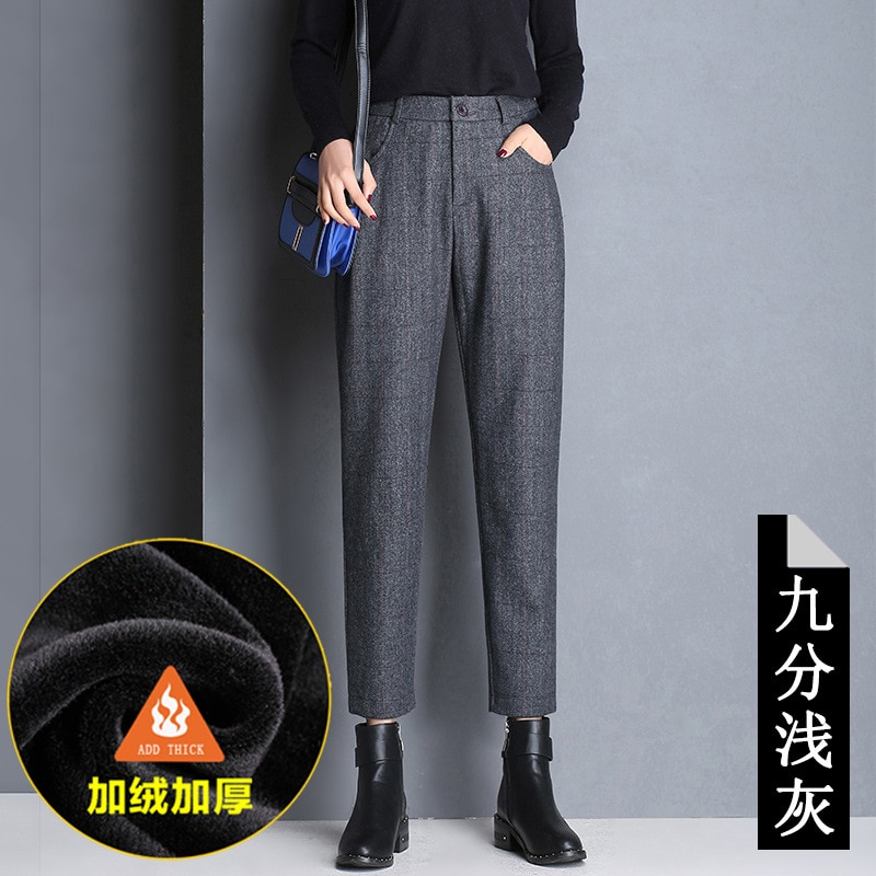 Shuchan Thick 60% Woolen Pants For Women Ankle-length Pants Casual Plaid High Waist Harem Pants Trousers For Women Winter 2018