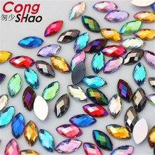 Cong Shao 200 Uds 4*8mm AB colorido flatback piedra con forma de ojo de caballo y cristal acrílico corte de estrás teléfono traje decoración ZZ730