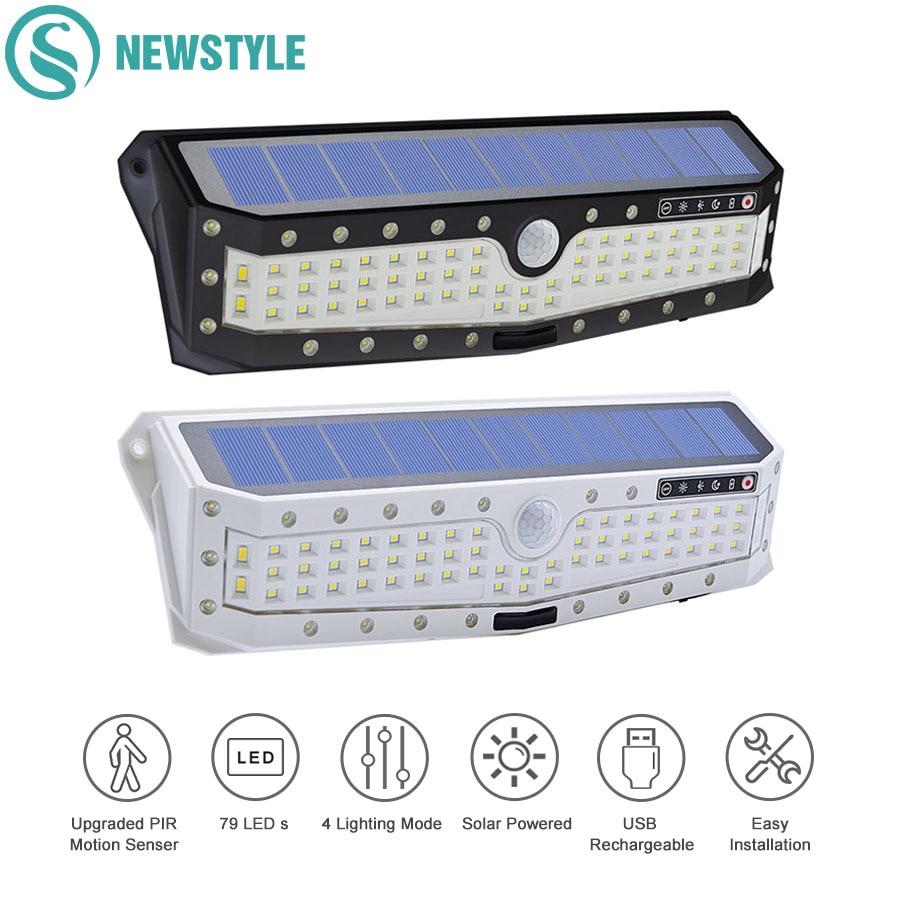 57/79 LED PIR, Sensor de movimiento, luz Solar, iluminación impermeable para exteriores, lámparas solares de pared para jardín, calle, luz de seguridad de emergencia