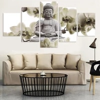 5 panel large orchid background buddha painting canvas art wall pictures for living room modern home decoration unframed