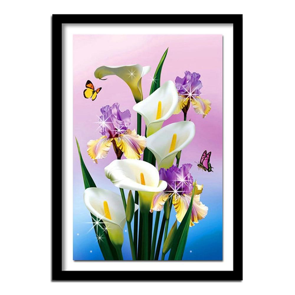DIY 5D diamante pintura Cruz puntada flores blanco Calla lirio diamante bordado lienzo pintura diamantes de imitación