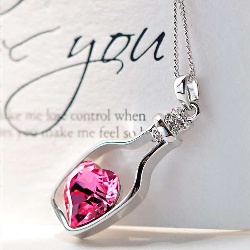 Women Fashion Popular Crystal Necklace Love Drift Bottles Hot Pink NO Retail Box. Packed Safely in Bubble Bag