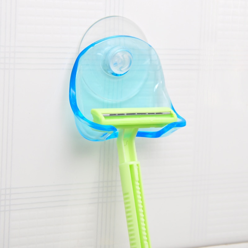 1piece/lot Plastic Super Suction Cup Razor Rack Clear Blue Bathroom Razor Holder Suction Cup Shaver Storage Rack