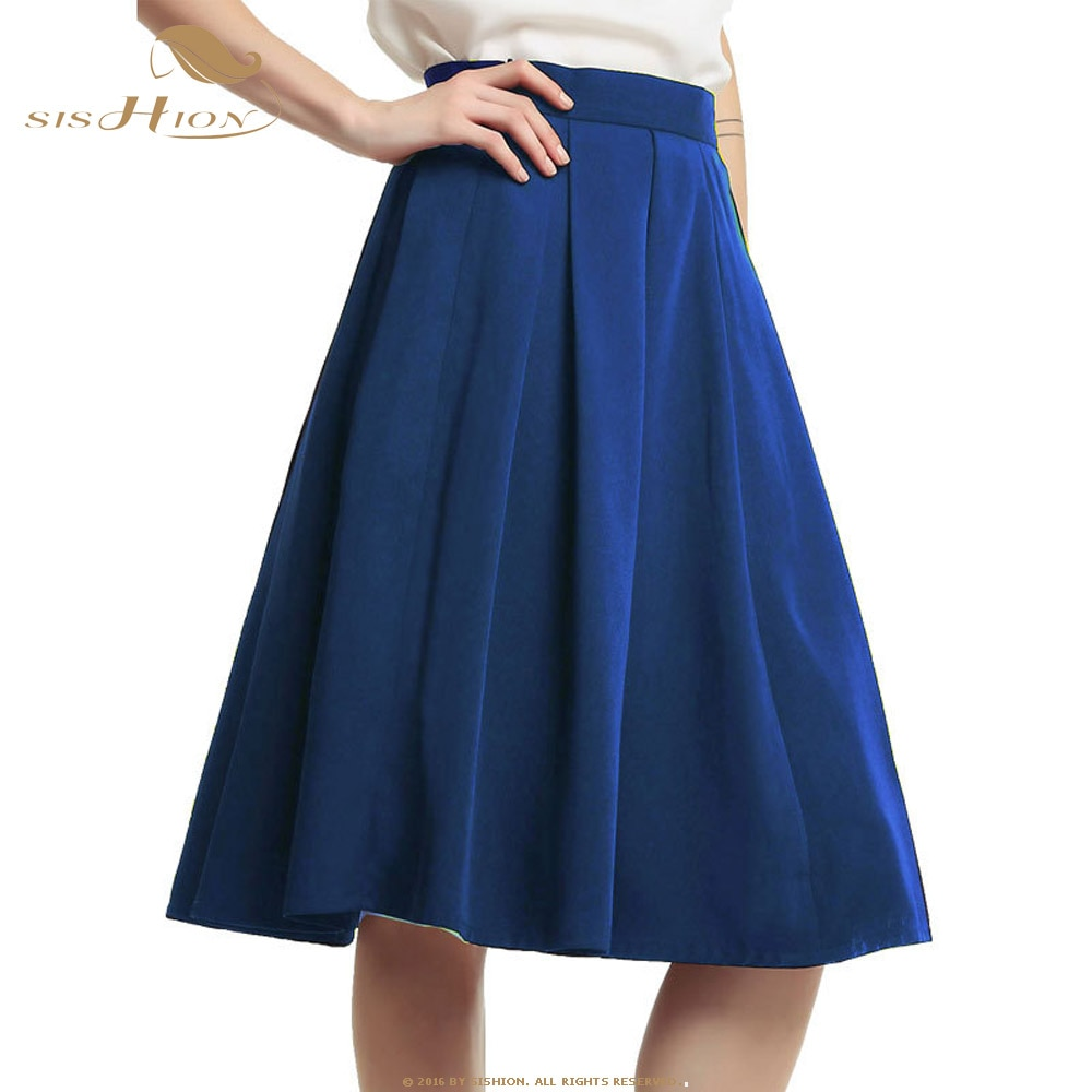 SISHION Falda plisada para mujeres de talla grande negro vino rojo caqui rojo azul marino Midi falda Casual con bolsillos VD1018