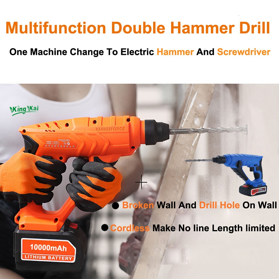 5000 10000mAh Long Duration Hammer Cordless Drill Rechargeable Lithium Battery Multifunctional Electric Hammer Impact Drill enlarge