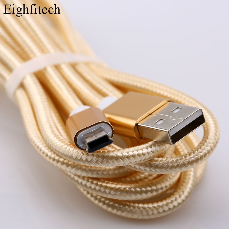 Eighfitech Braided Copper Mini Usb Data Cable Cord Adapter USB 2.0 T-port Charge Line for MP3 MP4 Ca