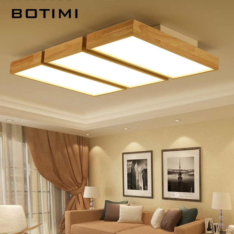Botimi 220v Led Ceiling Lights Wooden Square Ceiling Lamp With Dimming Remote For Living Room Dining Light Wood Bedroom Lamps Leather Bag