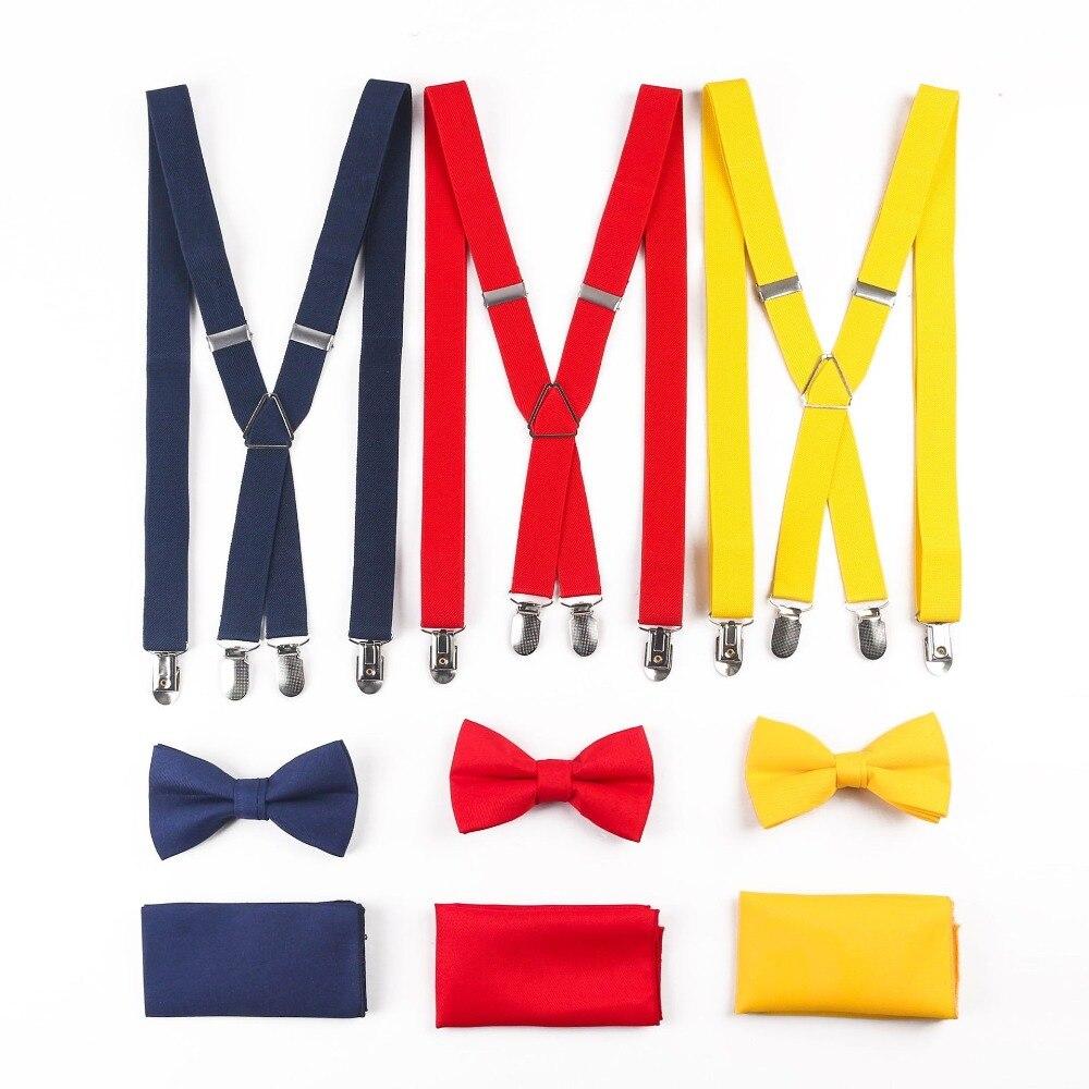 TagerWilen Men's 3pcs Bowknot Sets Casual Classic Solid Braces Pocket Square Wedding Suit Hankies Bowtie Suspenders Sets T-265