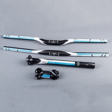 FCFB Carbon Faser MTB Fahrrad Teile Gesetzt Kohlenstoff Flache oder Riser Lenker + Vorbau + Sattelstütze 3k Gloss Blau