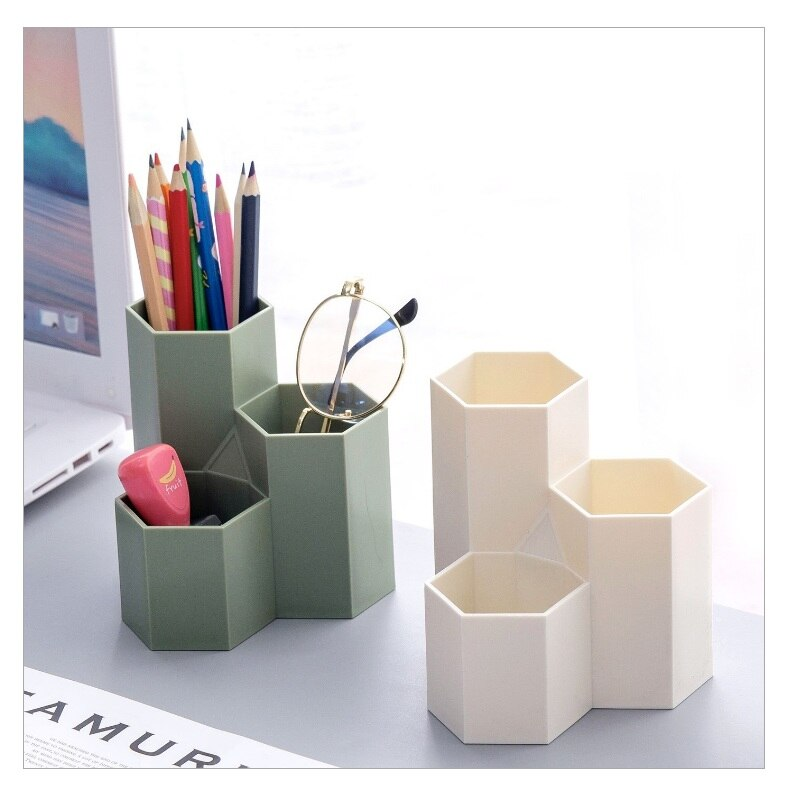 Recipiente Hexagonal para lápices, caja de almacenamiento para brochas de maquillaje, soporte de maquillaje para pintalabios/bolígrafo/lápiz cosmético Negro transparente verde