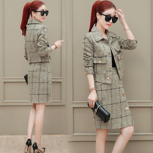 Conjunto de traje xadrez feminino, novo terno de designer de inverno, alta qualidade, jaqueta curta, duas peças, conjunto de negócios terno dc5.0