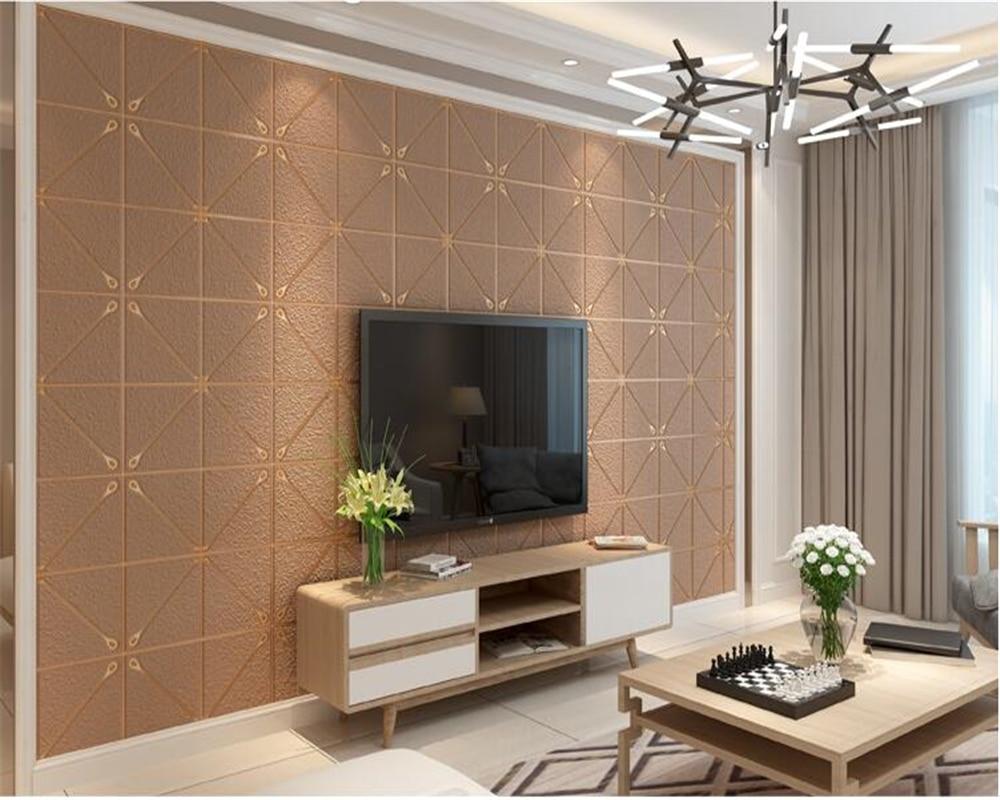 beibehang Extra thick 3D suede papel de parede 3d wallpaper TV background plaid soft bag living room bedroom nonwoven wallpaper