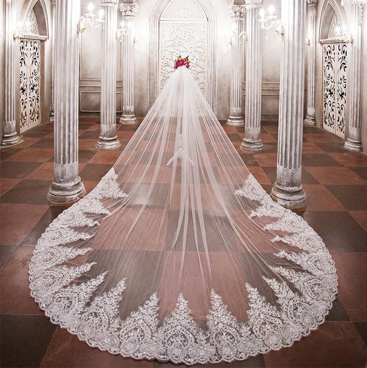 Lakshmigown 3,5 metros de largo velos de boda de lujo real Catedral longitud lentejuelas Iglesia nupcial Velo peine Vail Accesorios