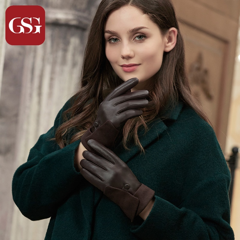 GSG Touchscreen Leather Gloves Warm Winter Driving Gloves Mittens Punk Buckles Crimping Fashion Gloves for Ladies Black Brown gsg women winter leather gloves mittens knitted lined driving gloves handmade warm ladies fashion touch screen gloves black