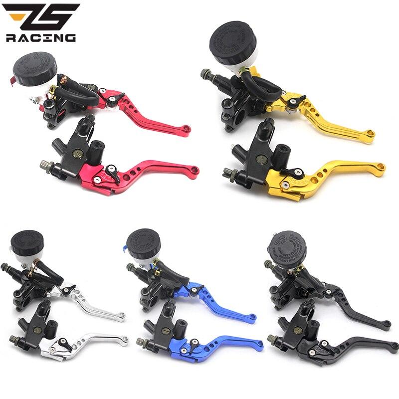 ZS Racing Universal CNC 22mm Motorcycle Brake Clutch Levers Master Cylinder Reservoir Set For Honda Suzuki Kawasaki Yamaha D10