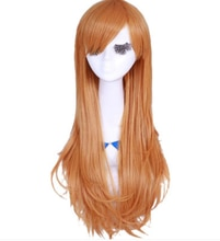 Orange anime cosplay cheveux asuna cosplay cheveux épée art en ligne orange cheveux longs princesse cheveux anime fête fournitures