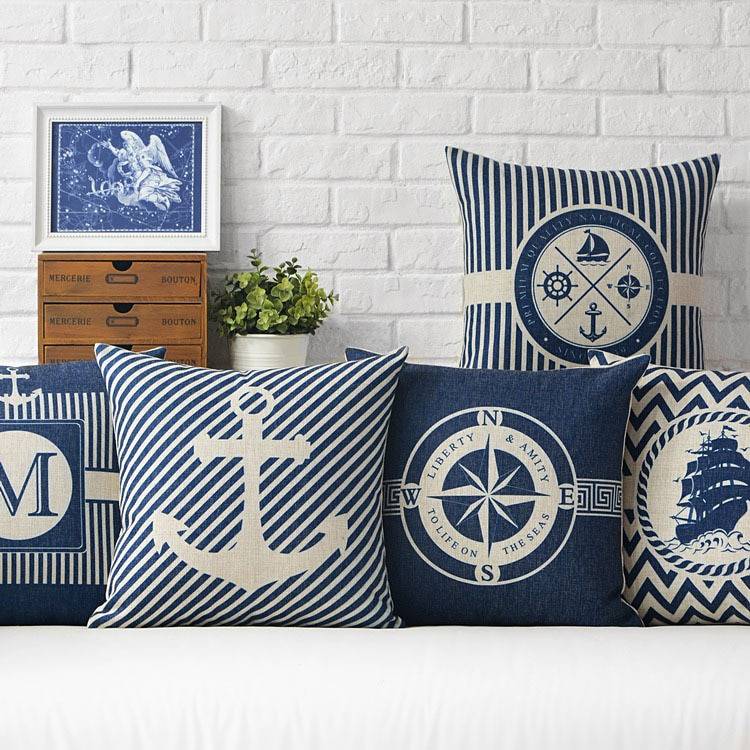 Almohada geométrica Mediterráneo funda de almohada con diseño de ancla mar azul brújula Marina nave Lino funda de almohada funda de cojín