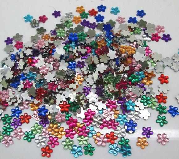 1000 Uds. Decoración de flores acrílicas variadas manualidades cabujón recortes adornos Flatback Nail Art cuentas para ropa DIY