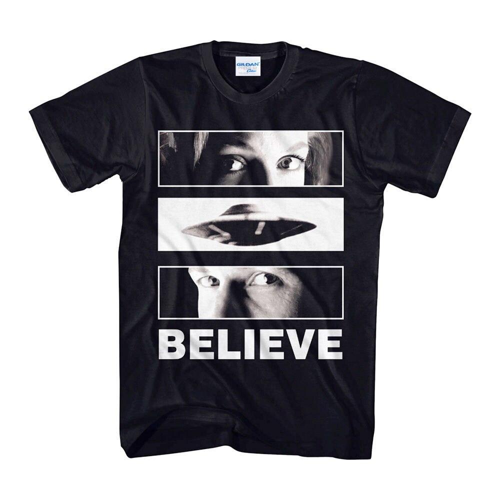 100% cotton summer tees printed unny Novelty hip hop rock t-shirts men X-Files Believe Eyes Black Adult hunter t shirt