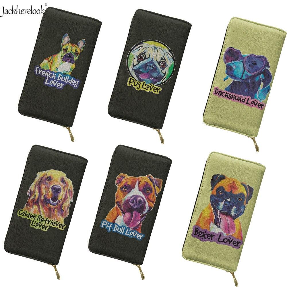 Jackherelook, monedero de cuero para mujer, Pug/Bulldog Francés/Boxer, diseño de perro, billetera larga para mujer, monedero, bolso de mano, tarjetero para teléfono