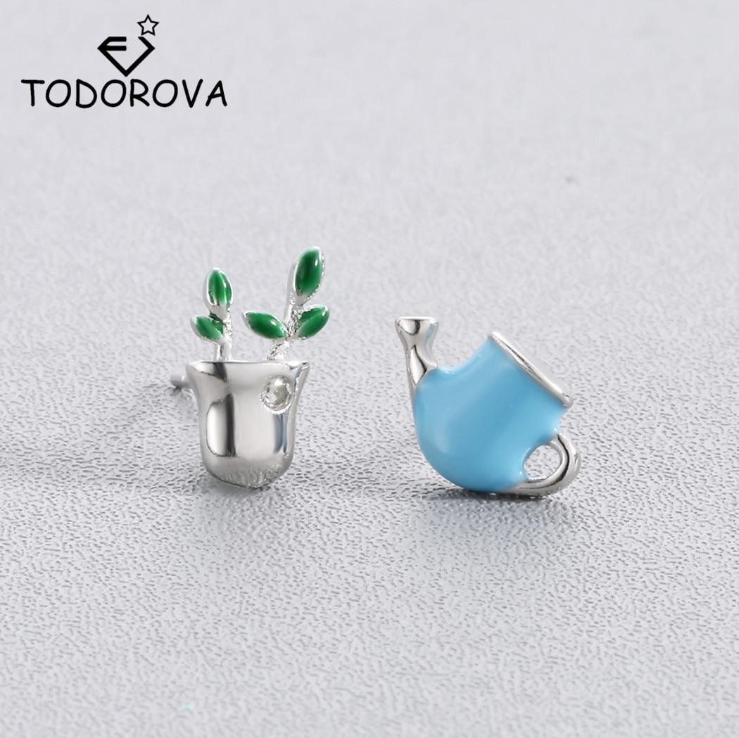 Todorova Cute Small Asymmetric Watering Pot Potted Plant Stud Earrings for Women Flower Earrings Statement Jewelry