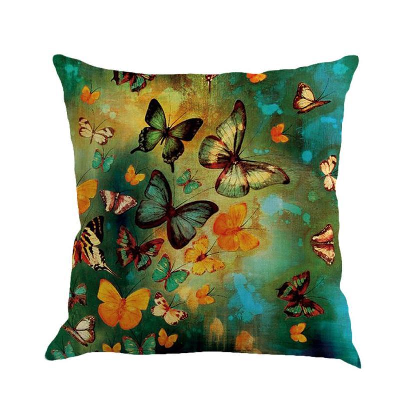 MUQGEW, gran oferta, cojín de lino con pintura de mariposa, cojín para sofá, decoración del hogar, cojín para el hogar