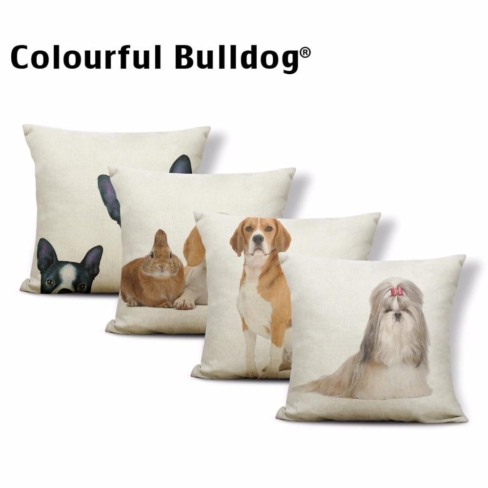 Funda de cojín con diseño de Animal completo Shih Tzu, funda de cojín con Bulldog Francés, conejo, gato, Bóxer, perro, 17x17 pulgadas, decoración para el sofá de la sala de estar