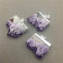 Pendentif en forme de Stalactite en cristal violet avec caution, améthyste en pierre naturelle pendentif à capuchon plaqué argent MY0030