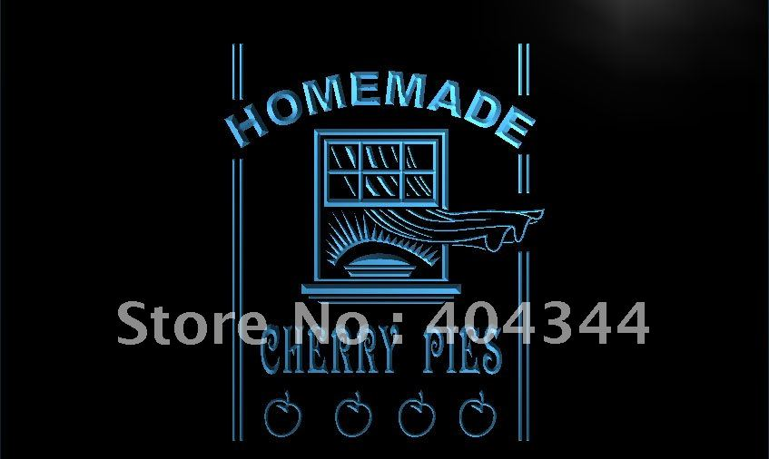 LK362-tartas de cereza caseras comida café letrero de neón con luz LED manualidades decorativas para el hogar