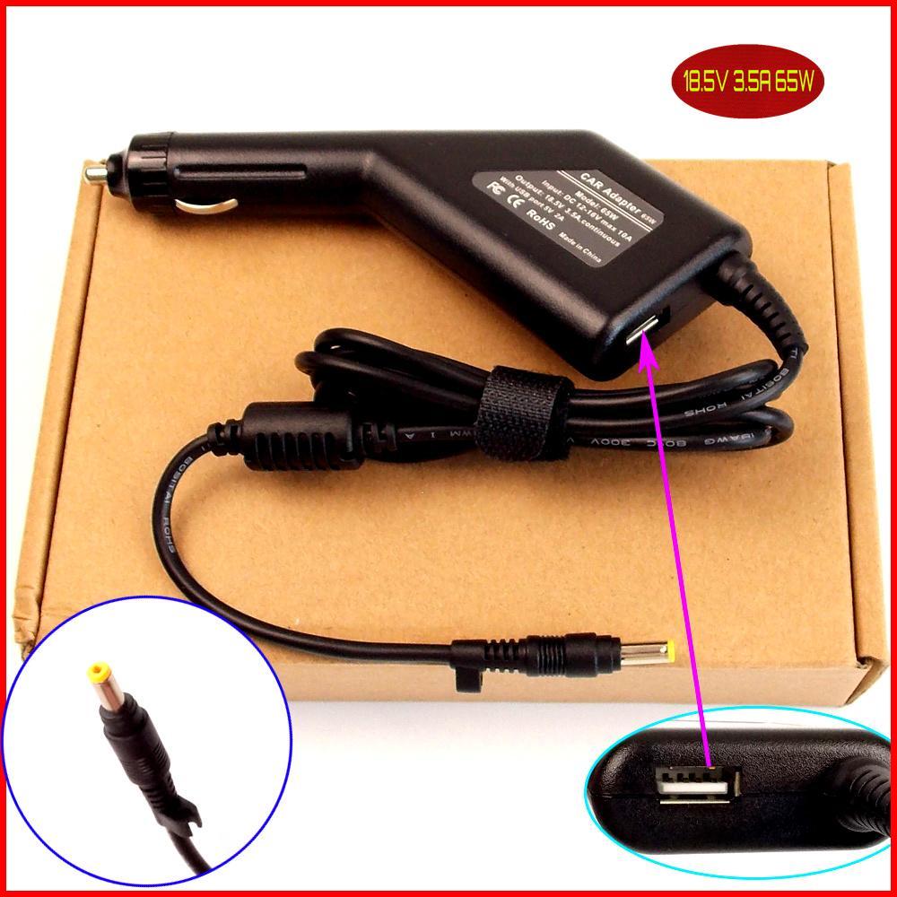 Ordenador portátil de alimentación DC Cargador/adaptador de coche 18,5 V 3.5A 65W + puerto USB para HP Compaq Presario 2200, 2800, 2801, 2805, 2806, 2810, 2811