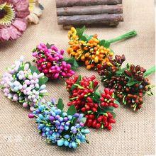 10PCS/lot Mulberry Party Artificial Flower Stamen Wire Stem/Marriage Leaves Stamen Wedding Box Decoration