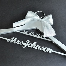 Silver Wedding Hanger Bridal Dress Mrs Name Hanger, Personalized Bride Bridesmaid Hanger with Date,