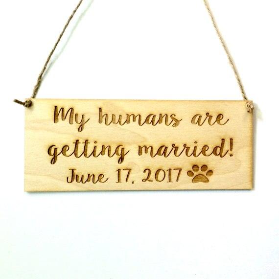 Фото реквизит для помолвки собаки-мои люди женятся с дополнительной персонализацией деревянная Свадебная табличка