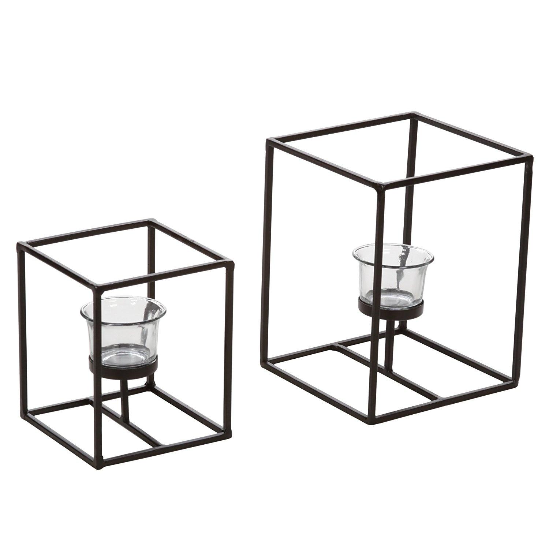 2 candelabros con vidrio votivo transparente, portavelas de linterna. Regalo Ideal para el hogar, chimenea, boda, aromaterapia