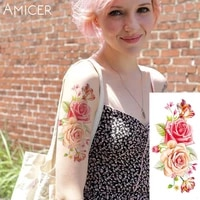 1 piece hot 3d tattoos one time temporary tattoos arm red rose flower tattoo waterproof female body art tattoo