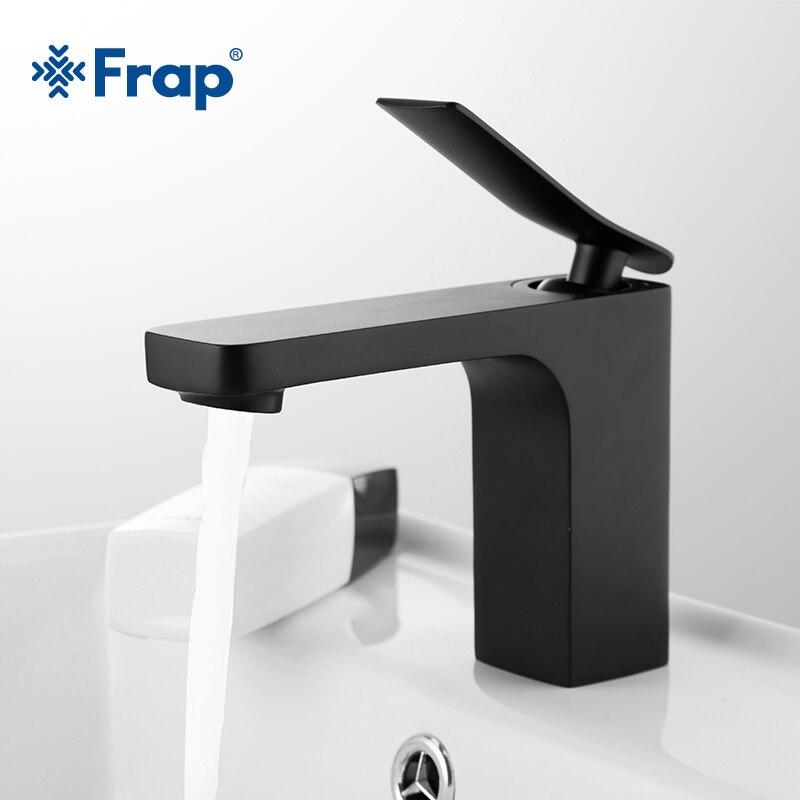 Frap-صنبور خلاط للحوض والمغسلة ، حنفية حمام من الكروم ، مياه ساخنة وباردة ، طلاء أسود ، Y10034