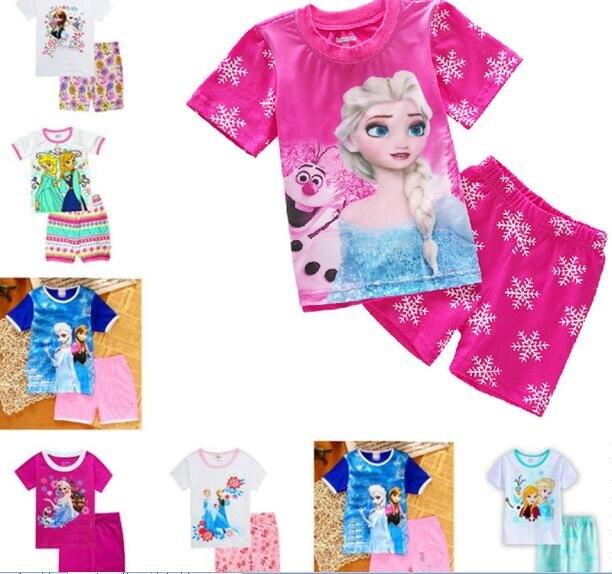 Children Clothes Kids Clothing Set Styling Nightwear Print Pajamas Girls Snow Queen Elsa Anna Sleepwear SP134
