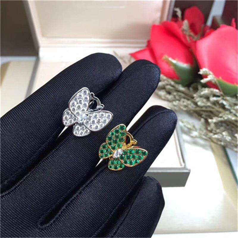 Женские серьги-пусеты с зажимом, из 100% серебра 925 пробы, розовый/желтый/белый/зеленый камень, подарки, хит продаж