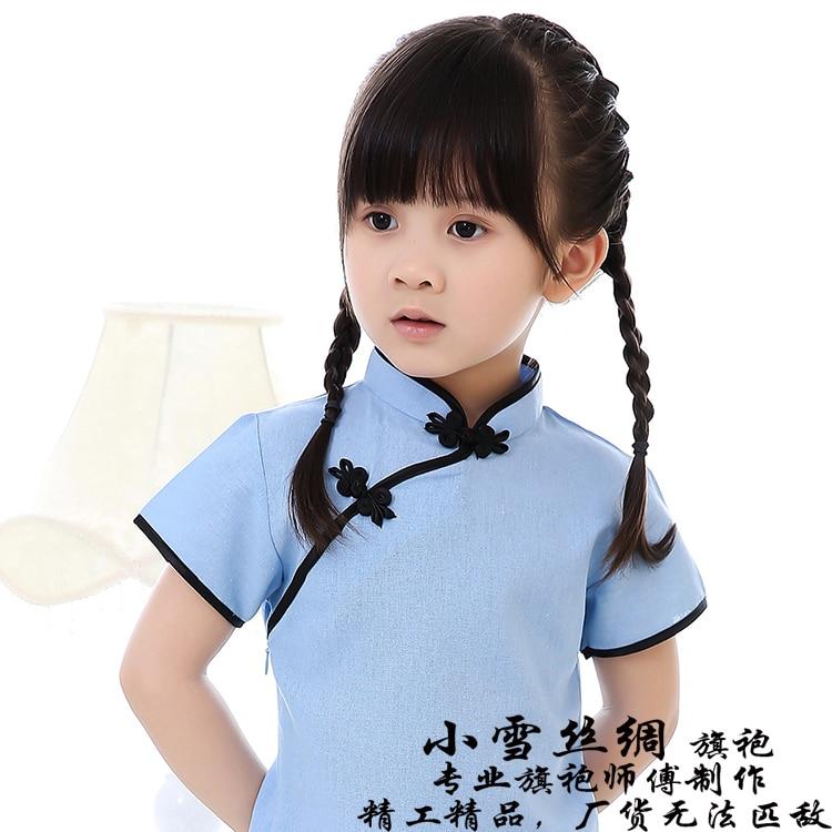 New summer female children cheongsam with cotton and linen qipao dress baby girls china wind restoring ancient dress