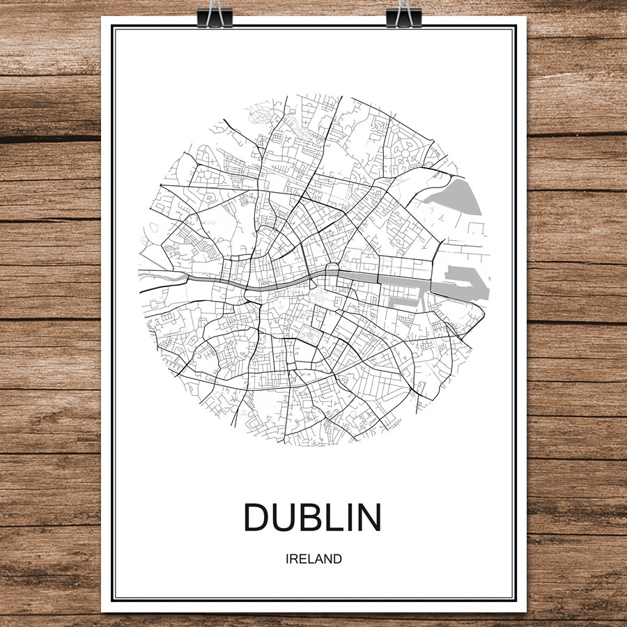 Дублина Ирландия известный мир город улица карта печать постер бумага с абстрактным покрытием кафе гостиная украшение дома Наклейка на сте...