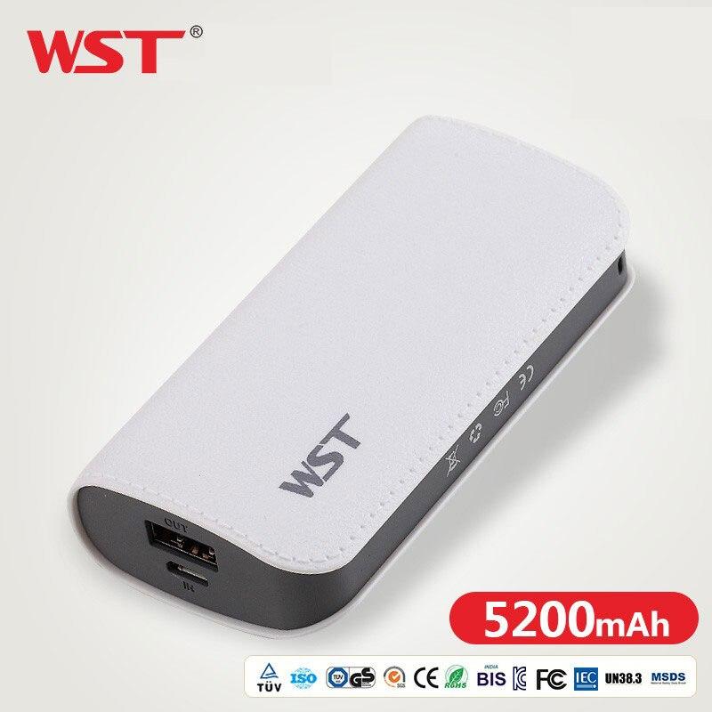 Wst bonito banco de potência 5200 mah para xiao mi 2 usb pequeno pover banco mi ni portátil bateria externa poverbank para o telefone móvel