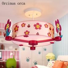 Cartoon creative flower chandelier girl bedroom children's room lamp American modern personality LED red flower pendant lamp