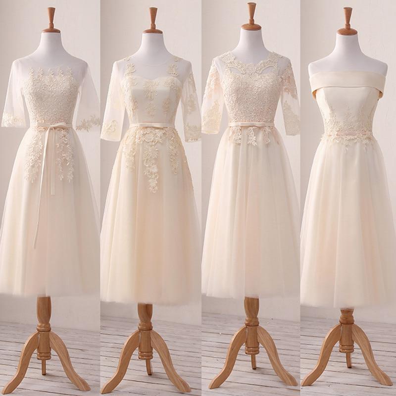 Barato vestidos para damas De honor color champagne té De longitud De bordado De flores De encaje novia elegante Banquete De boda invitado Vestido De fiesta