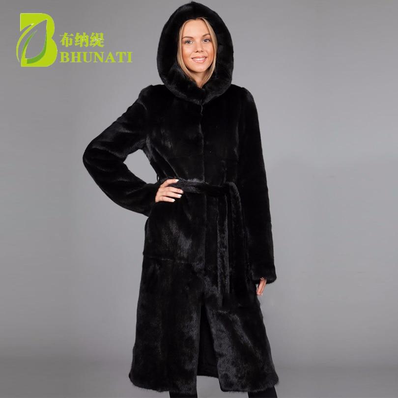 Женская длинная Меховая куртка с капюшоном и поясом, однотонная Повседневная куртка с длинным рукавом, верхняя одежда большого размера d дл...