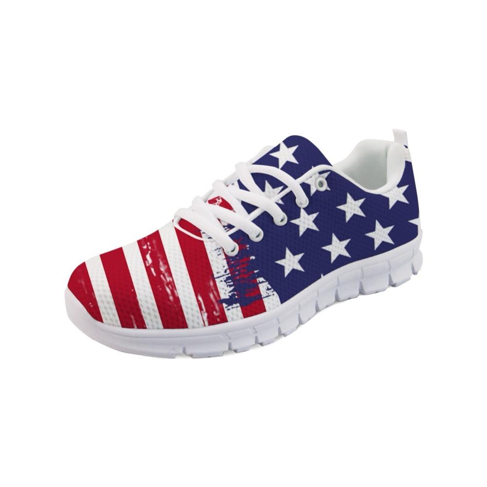 NOISYDESIGNS Men Sneakers Flats Casual Brand 3D USA Flags Pattern Men's Comfortable Mesh Shoes Zapatos Hombre Light Walk Shoes